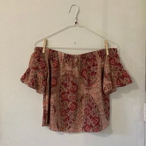 Madewell red pattern off shoulder blouse